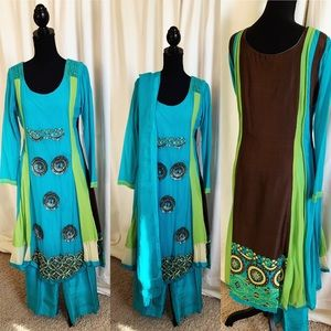Dresses & Skirts - Blue-green Pakistani Outfit